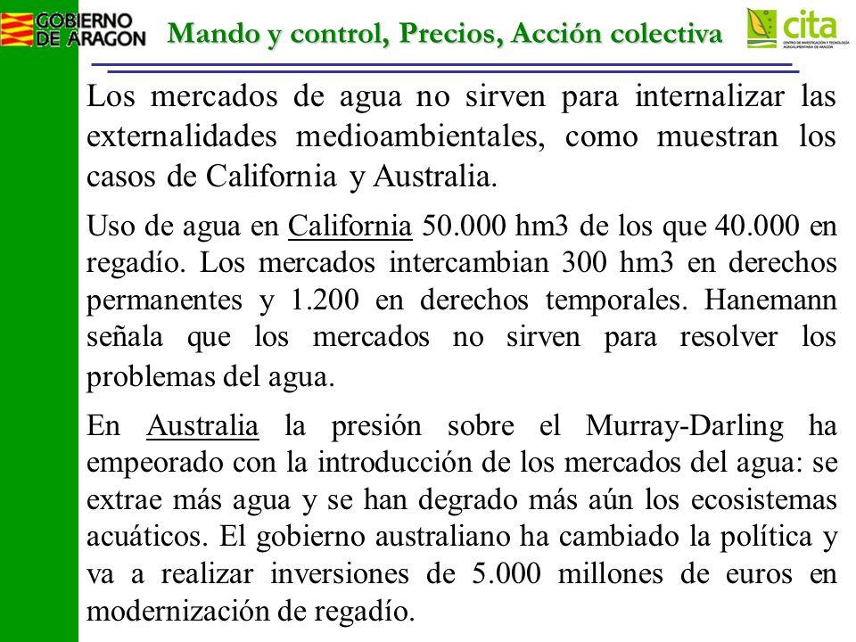 Mando y control, Precios, Acción colectiva Los mercados de agua no sirven para internalizar las externalidades medioambientales, como muestran los casos de California y Australia.