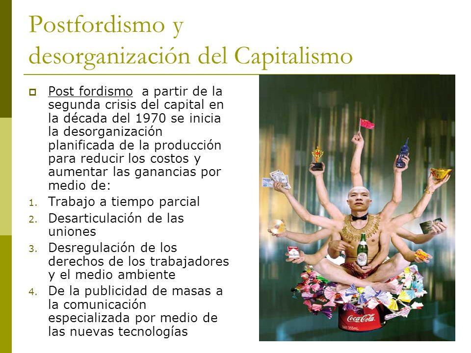 Postfordismo y desorganización del Capitalismo Post fordismo a partir de la segunda crisis del capital en la década del 1970 se inicia la desorganizac