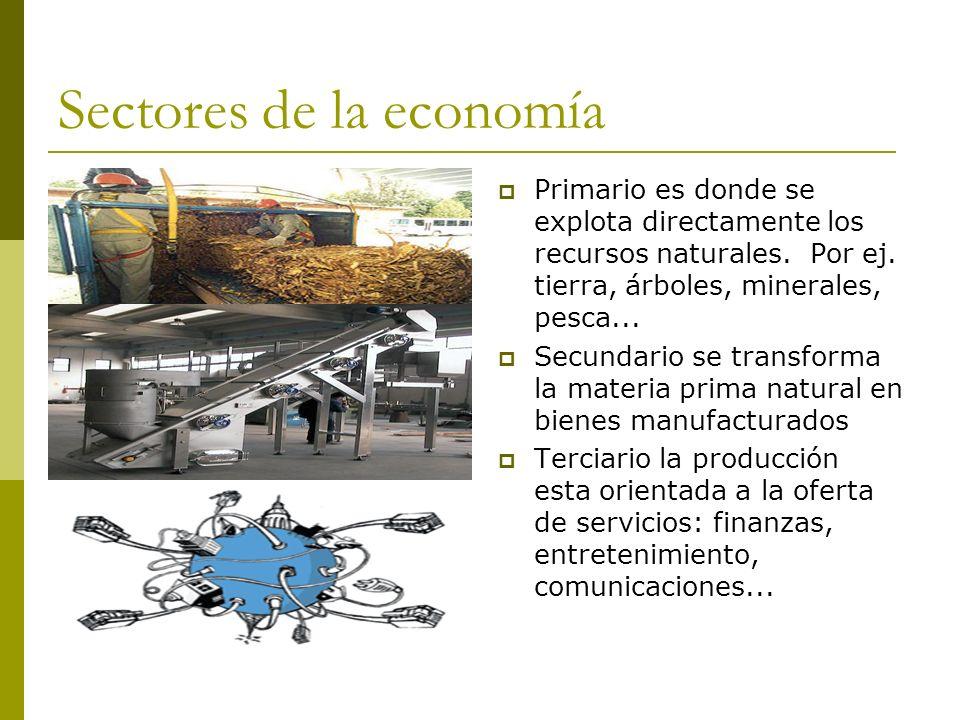 Sectores de la economía Primario es donde se explota directamente los recursos naturales. Por ej. tierra, árboles, minerales, pesca... Secundario se t
