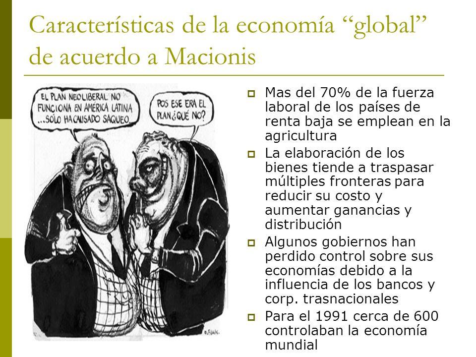 Características de la economía global de acuerdo a Macionis Mas del 70% de la fuerza laboral de los países de renta baja se emplean en la agricultura