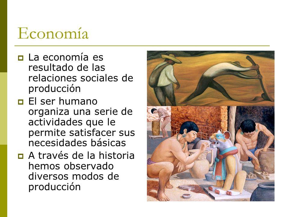 Economía La economía es resultado de las relaciones sociales de producción El ser humano organiza una serie de actividades que le permite satisfacer s