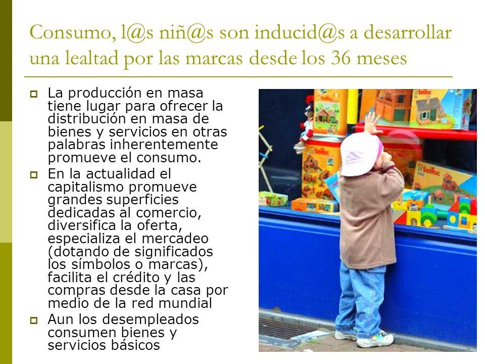 Consumo, l@s niñ@s son inducid@s a desarrollar una lealtad por las marcas desde los 36 meses La producción en masa tiene lugar para ofrecer la distrib