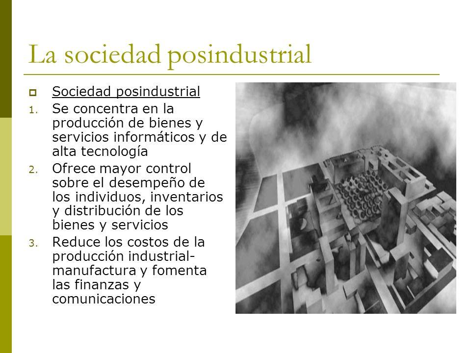 La sociedad posindustrial Sociedad posindustrial 1. Se concentra en la producción de bienes y servicios informáticos y de alta tecnología 2. Ofrece ma