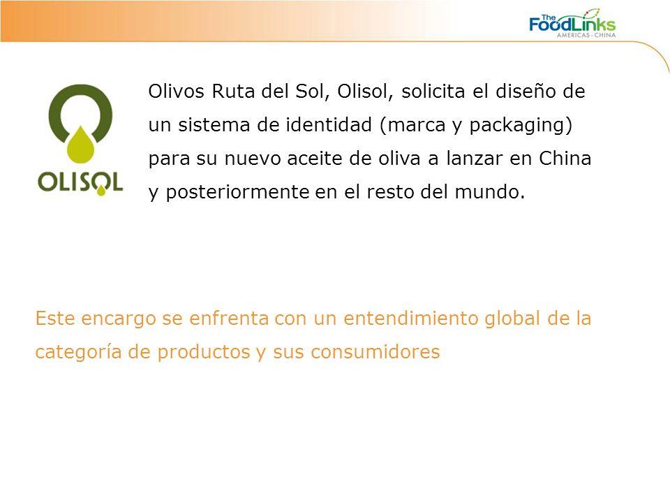 Olivos Ruta del Sol, Olisol, solicita el diseño de un sistema de identidad (marca y packaging) para su nuevo aceite de oliva a lanzar en China y posteriormente en el resto del mundo.