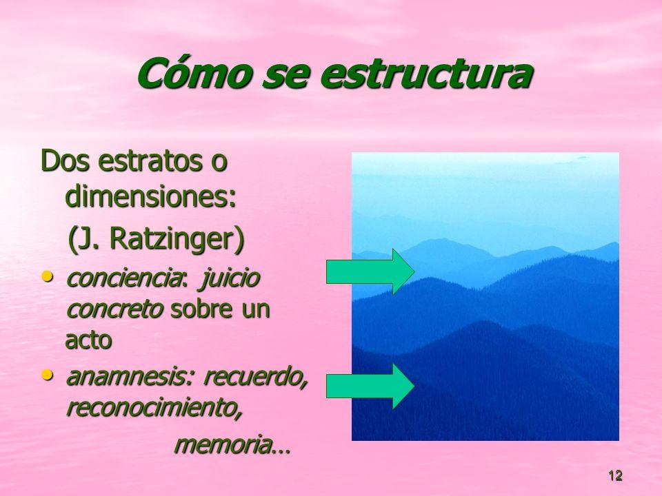 12 Cómo se estructura Dos estratos o dimensiones: (J.