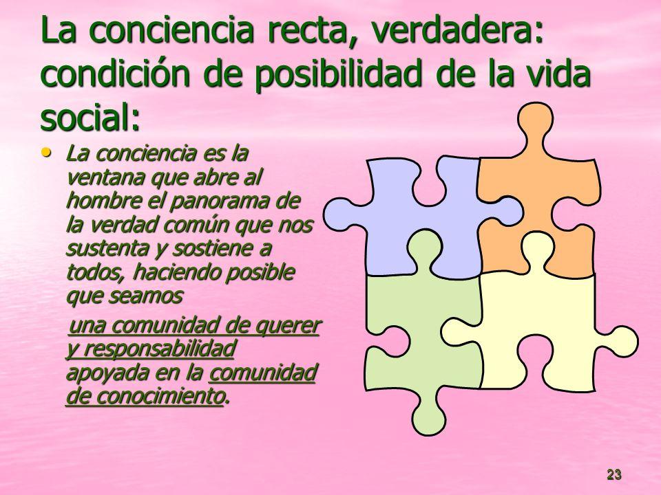 23 La conciencia recta, verdadera: condición de posibilidad de la vida social: La conciencia es la ventana que abre al hombre el panorama de la verdad