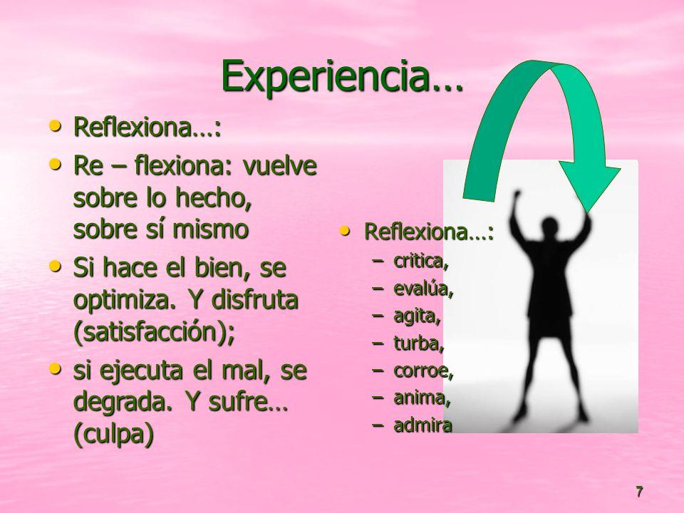 7 Experiencia… Reflexiona…: Reflexiona…: –critica, –evalúa, –agita, –turba, –corroe, –anima, –admira Reflexiona…: Reflexiona…: Re – flexiona: vuelve s