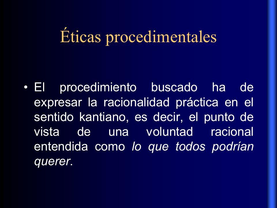 Éticas procedimentales El procedimiento buscado ha de expresar la racionalidad práctica en el sentido kantiano, es decir, el punto de vista de una vol