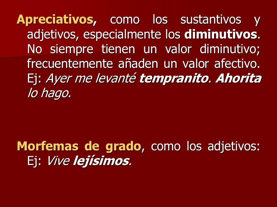 Apreciativos, como los sustantivos y adjetivos, especialmente los diminutivos. No siempre tienen un valor diminutivo; frecuentemente añaden un valor a