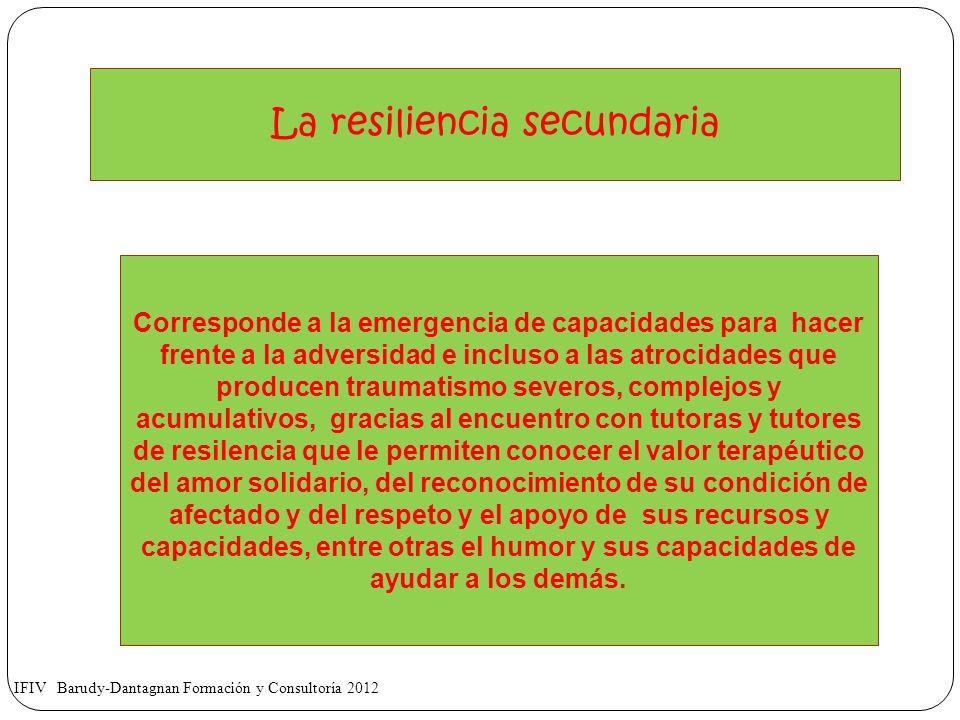 La resiliencia secundaria Corresponde a la emergencia de capacidades para hacer frente a la adversidad e incluso a las atrocidades que producen trauma