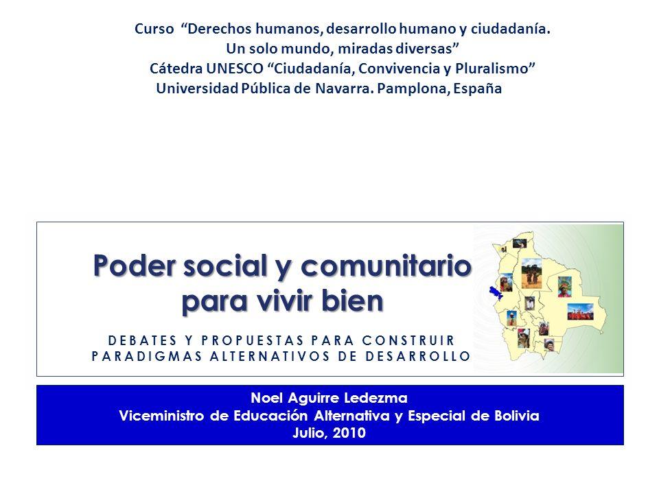Poder social y comunitario para vivir bien Noel Aguirre Ledezma Viceministro de Educación Alternativa y Especial de Bolivia Julio, 2010 DEBATES Y PROP