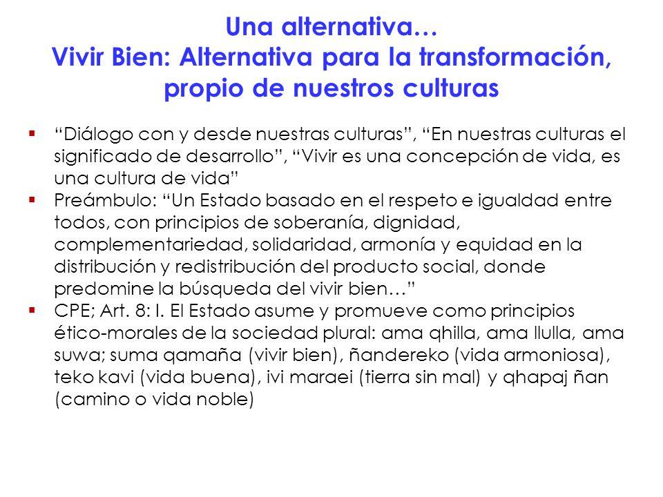 Una alternativa… Vivir Bien: Alternativa para la transformación, propio de nuestros culturas Diálogo con y desde nuestras culturas, En nuestras cultur