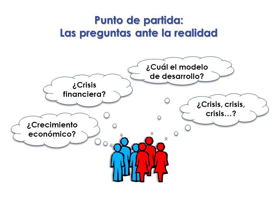 Punto de partida: Las preguntas ante la realidad ¿Cuál el modelo de desarrollo? ¿Crisis financiera? ¿Crecimiento económico? ¿Crisis, crisis, crisis…?