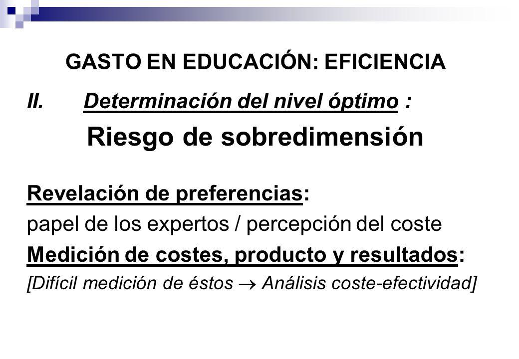 II.Determinación del nivel óptimo : Riesgo de sobredimensión Revelación de preferencias: papel de los expertos / percepción del coste Medición de cost