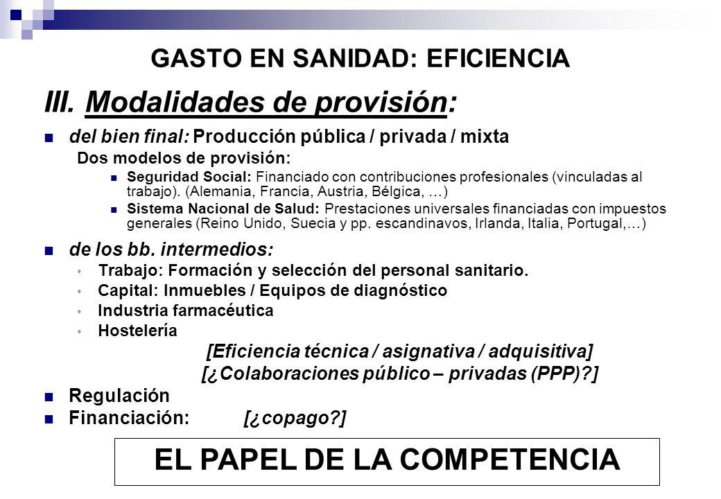 GASTO EN SANIDAD: EFICIENCIA III. Modalidades de provisión: del bien final: Producción pública / privada / mixta Dos modelos de provisión: Seguridad S