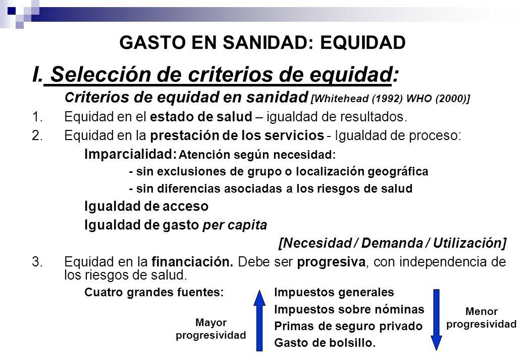 GASTO EN SANIDAD: EQUIDAD I. Selección de criterios de equidad: C riterios de equidad en sanidad [Whitehead (1992) WHO (2000)] 1.Equidad en el estado
