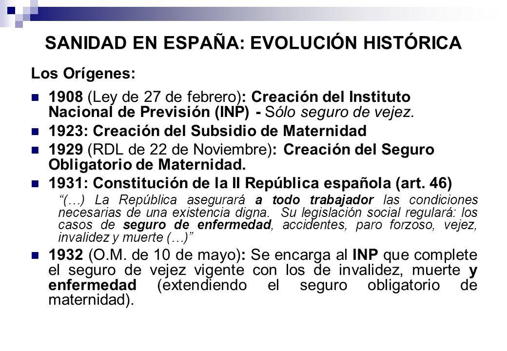 SANIDAD EN ESPAÑA: EVOLUCIÓN HISTÓRICA Los Orígenes: 1908 (Ley de 27 de febrero): Creación del Instituto Nacional de Previsión (INP) - Sólo seguro de