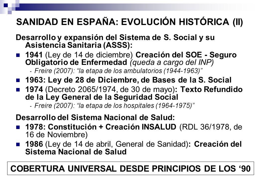 SANIDAD EN ESPAÑA: EVOLUCIÓN HISTÓRICA (II) Desarrollo y expansión del Sistema de S. Social y su Asistencia Sanitaria (ASSS): 1941 (Ley de 14 de dicie
