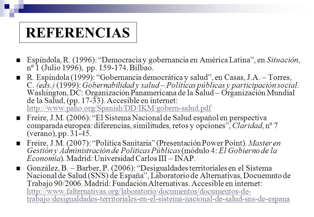 REFERENCIAS Espíndola, R. (1996): Democracia y gobernancia en América Latina, en Situación, nº 1 (Julio 1996), pp. 159-174. Bilbao. R. Espíndola (1999