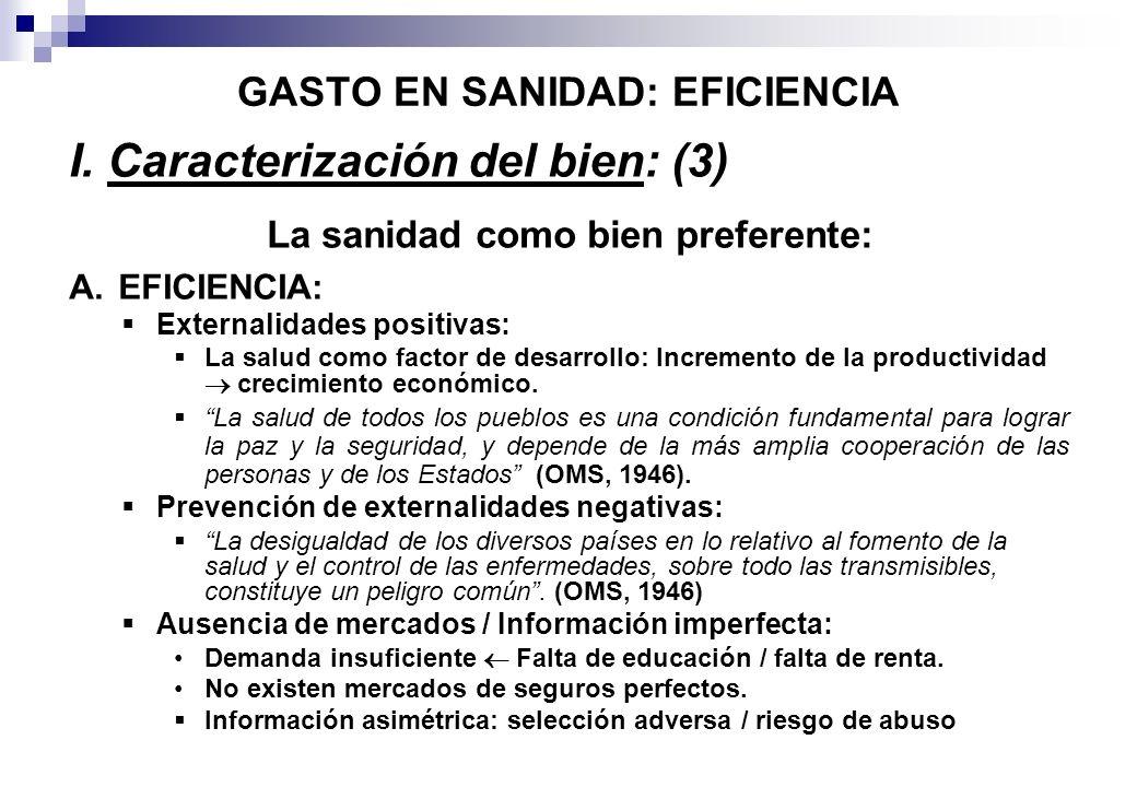 GASTO EN SANIDAD: EFICIENCIA I. Caracterización del bien: (3) La sanidad como bien preferente: A. EFICIENCIA: Externalidades positivas: La salud como
