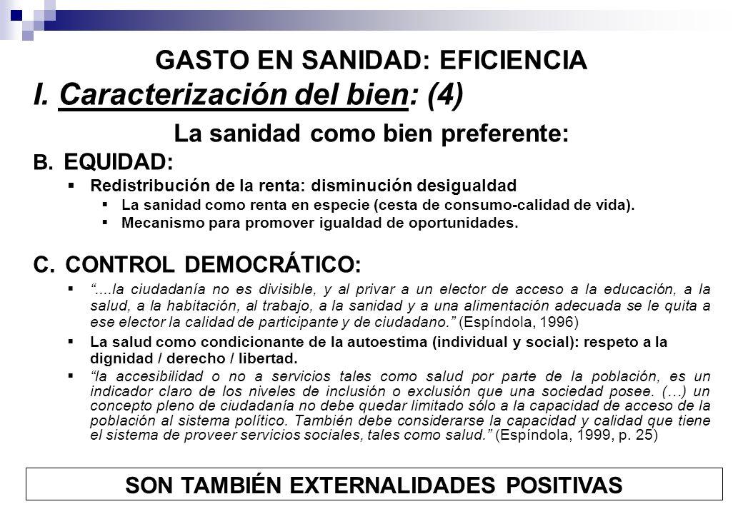 GASTO EN SANIDAD: EFICIENCIA I. Caracterización del bien: (4) La sanidad como bien preferente: B. EQUIDAD: Redistribución de la renta: disminución des