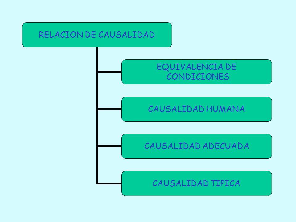 RELACION DE CAUSALIDAD EQUIVALENCIA DE CONDICIONES CAUSALIDAD HUMANA CAUSALIDAD ADECUADA CAUSALIDAD TIPICA