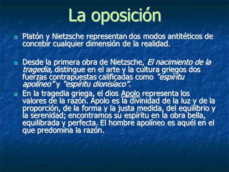 La oposición Platón y Nietzsche representan dos modos antitéticos de concebir cualquier dimensión de la realidad. Platón y Nietzsche representan dos m