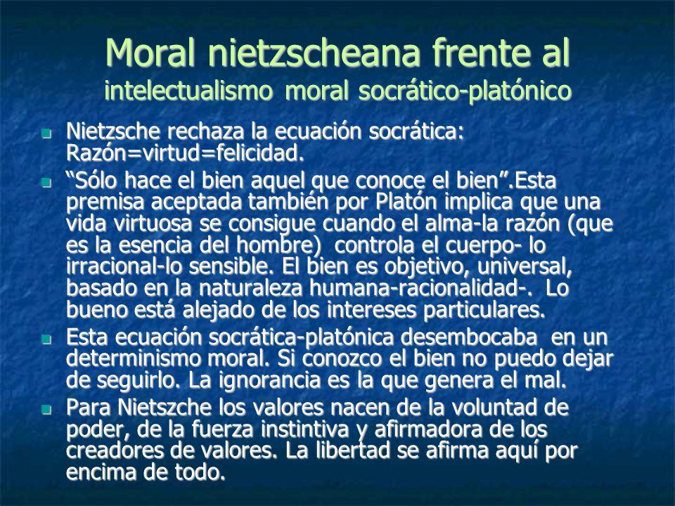 Moral nietzscheana frente al intelectualismo moral socrático-platónico Nietzsche rechaza la ecuación socrática: Razón=virtud=felicidad. Nietzsche rech
