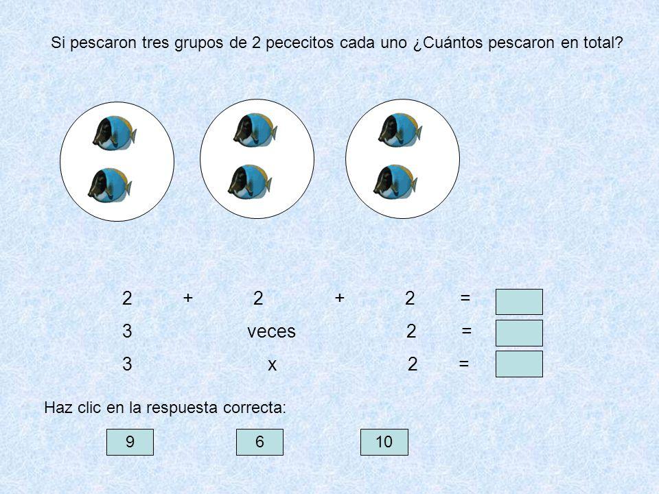 Si pescaron tres grupos de 2 pececitos cada uno ¿Cuántos pescaron en total? 2 + 2 + 2 = 3 veces 2 = 3 x 2 = 9610 Haz clic en la respuesta correcta: