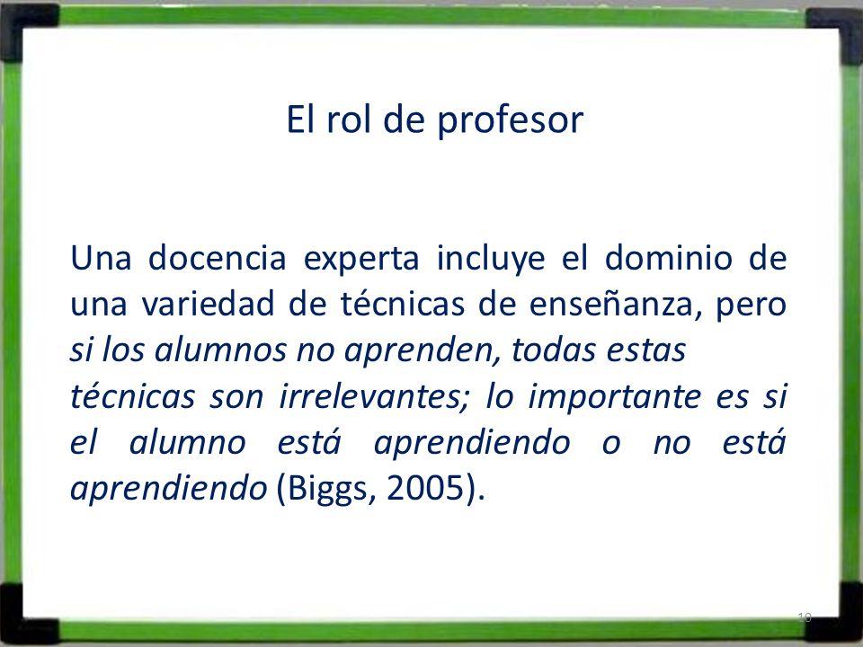 El rol de profesor Una docencia experta incluye el dominio de una variedad de técnicas de enseñanza, pero si los alumnos no aprenden, todas estas técn