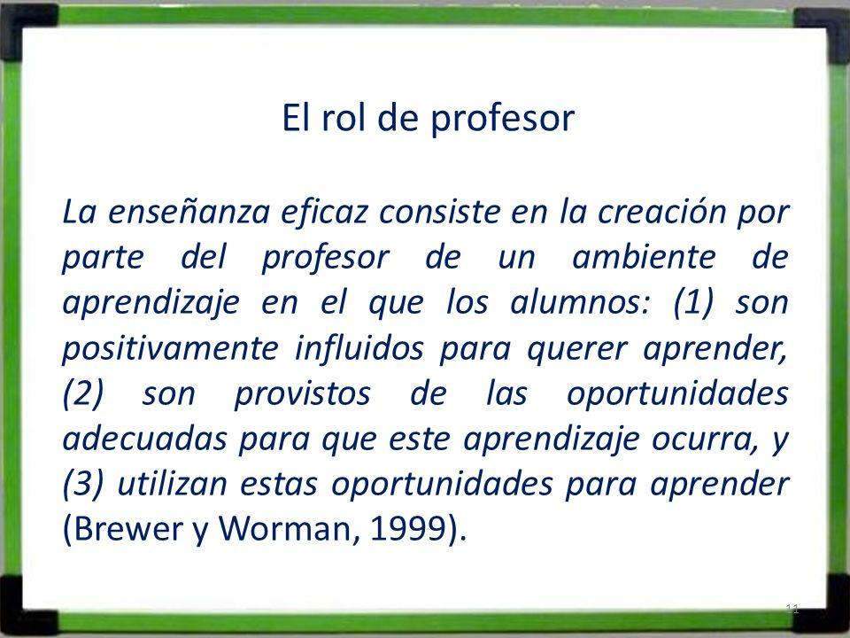 El rol de profesor La enseñanza eficaz consiste en la creación por parte del profesor de un ambiente de aprendizaje en el que los alumnos: (1) son pos