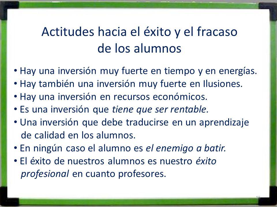 Actitudes hacia el éxito y el fracaso de los alumnos Hay una inversión muy fuerte en tiempo y en energías. Hay también una inversión muy fuerte en Ilu