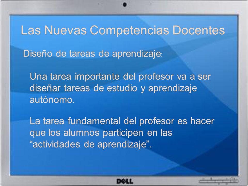 Las Nuevas Competencias Docentes 16 Diseño de tareas de aprendizaje : Una tarea importante del profesor va a ser diseñar tareas de estudio y aprendiza