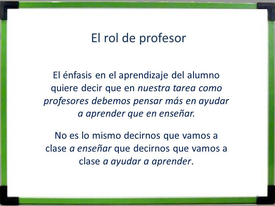 El rol de profesor El énfasis en el aprendizaje del alumno quiere decir que en nuestra tarea como profesores debemos pensar más en ayudar a aprender q