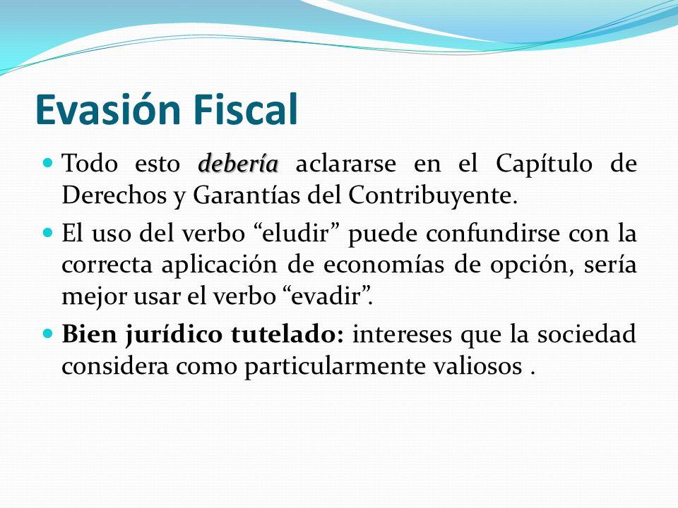 Evasión Fiscal debería Todo esto debería aclararse en el Capítulo de Derechos y Garantías del Contribuyente. El uso del verbo eludir puede confundirse