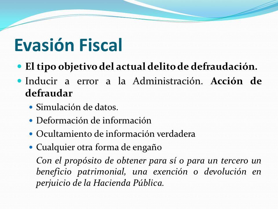 Evasión Fiscal El tipo objetivo del actual delito de defraudación. Inducir a error a la Administración. Acción de defraudar Simulación de datos. Defor