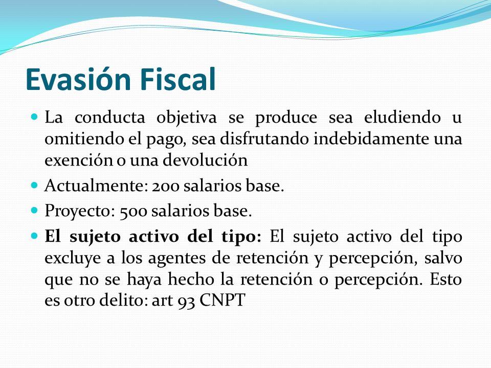 Evasión Fiscal La conducta objetiva se produce sea eludiendo u omitiendo el pago, sea disfrutando indebidamente una exención o una devolución Actualme
