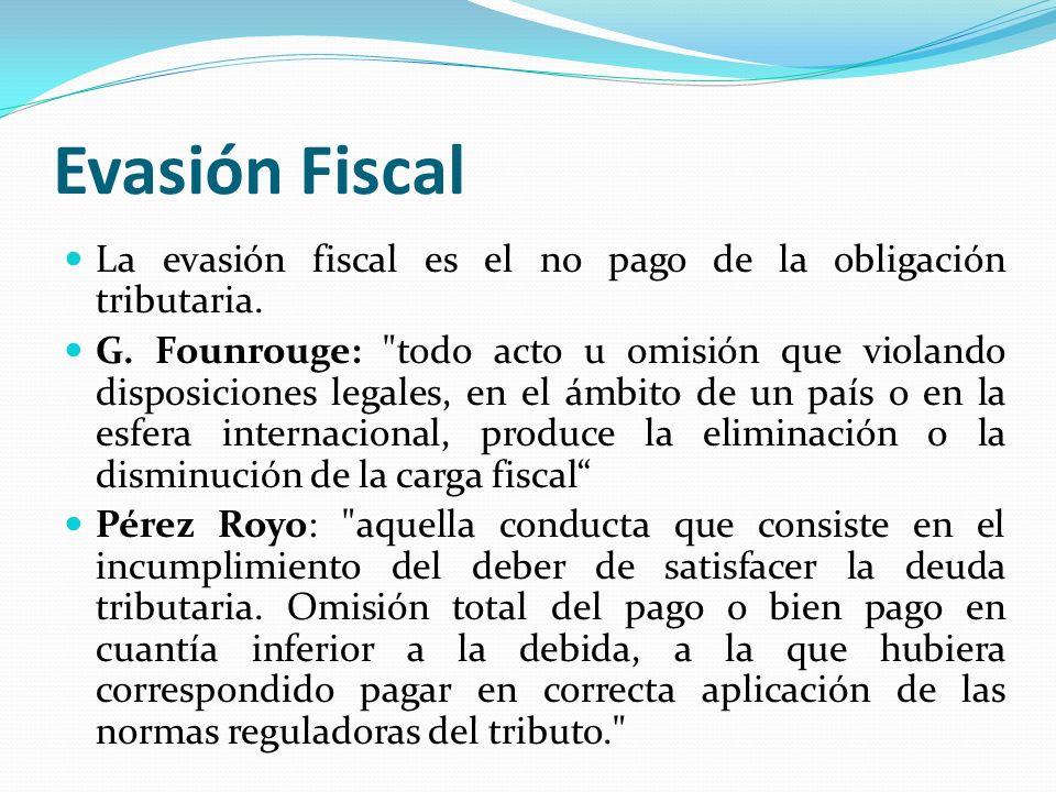 Evasión Fiscal La evasión fiscal es el no pago de la obligación tributaria. G. Founrouge: