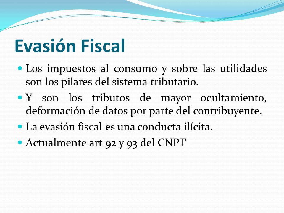 Evasión Fiscal Los impuestos al consumo y sobre las utilidades son los pilares del sistema tributario. Y son los tributos de mayor ocultamiento, defor