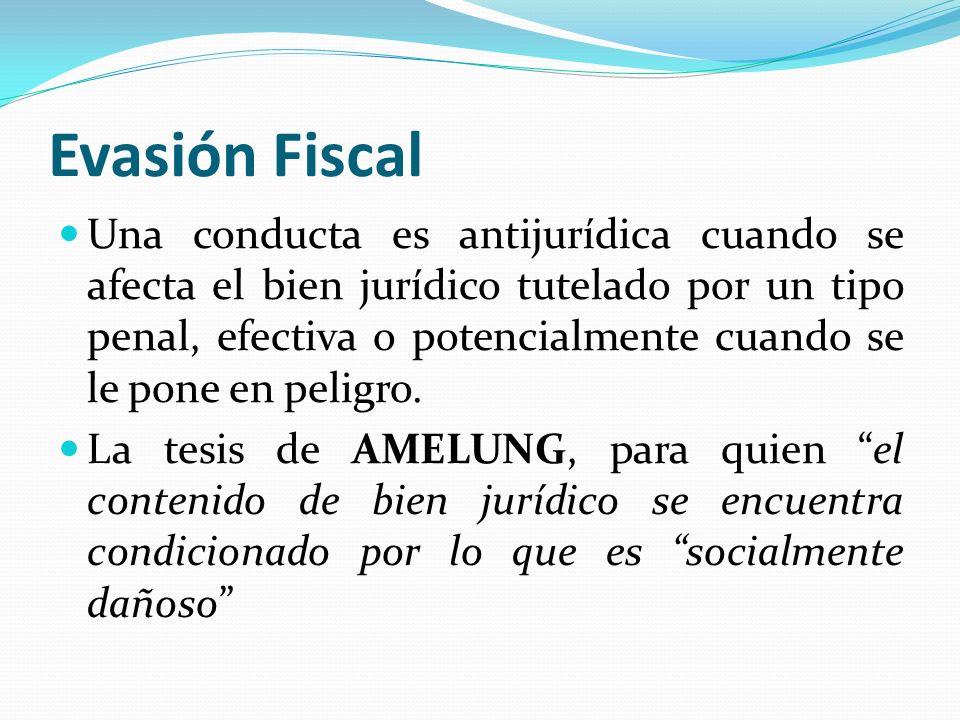 Evasión Fiscal Una conducta es antijurídica cuando se afecta el bien jurídico tutelado por un tipo penal, efectiva o potencialmente cuando se le pone