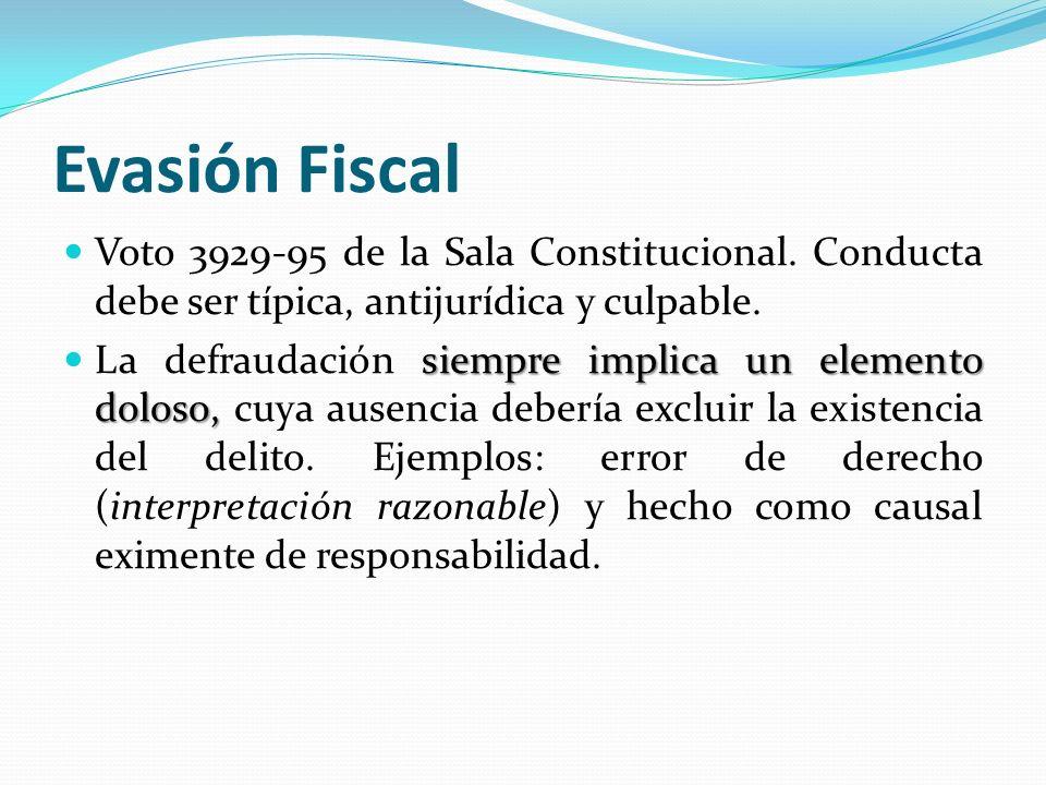 Evasión Fiscal Voto 3929-95 de la Sala Constitucional. Conducta debe ser típica, antijurídica y culpable. siempre implica un elemento doloso, La defra