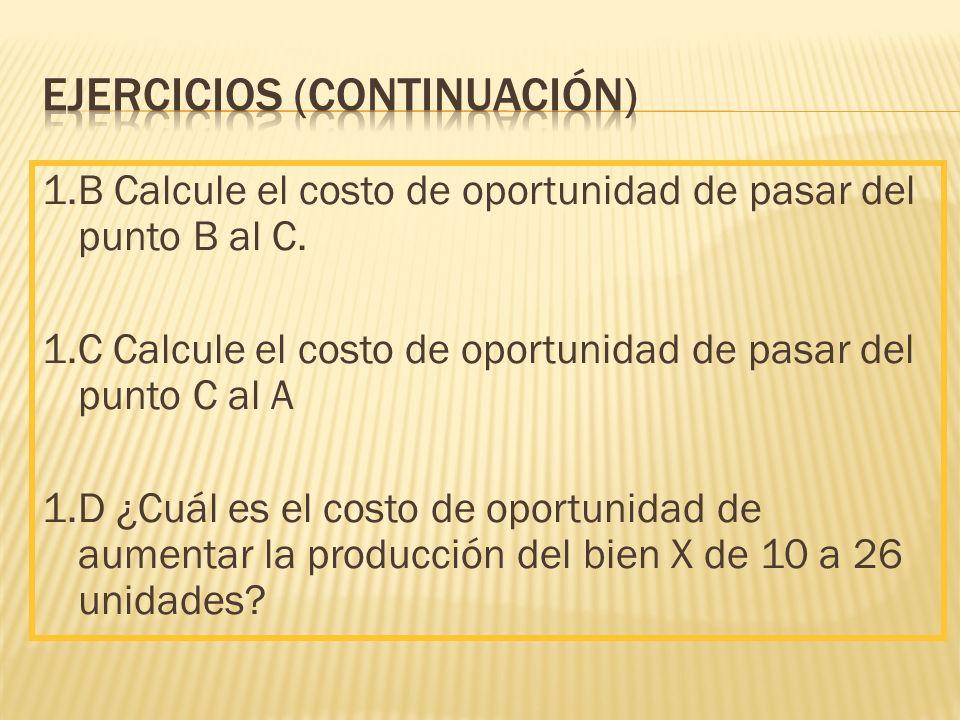 1.B Calcule el costo de oportunidad de pasar del punto B al C.
