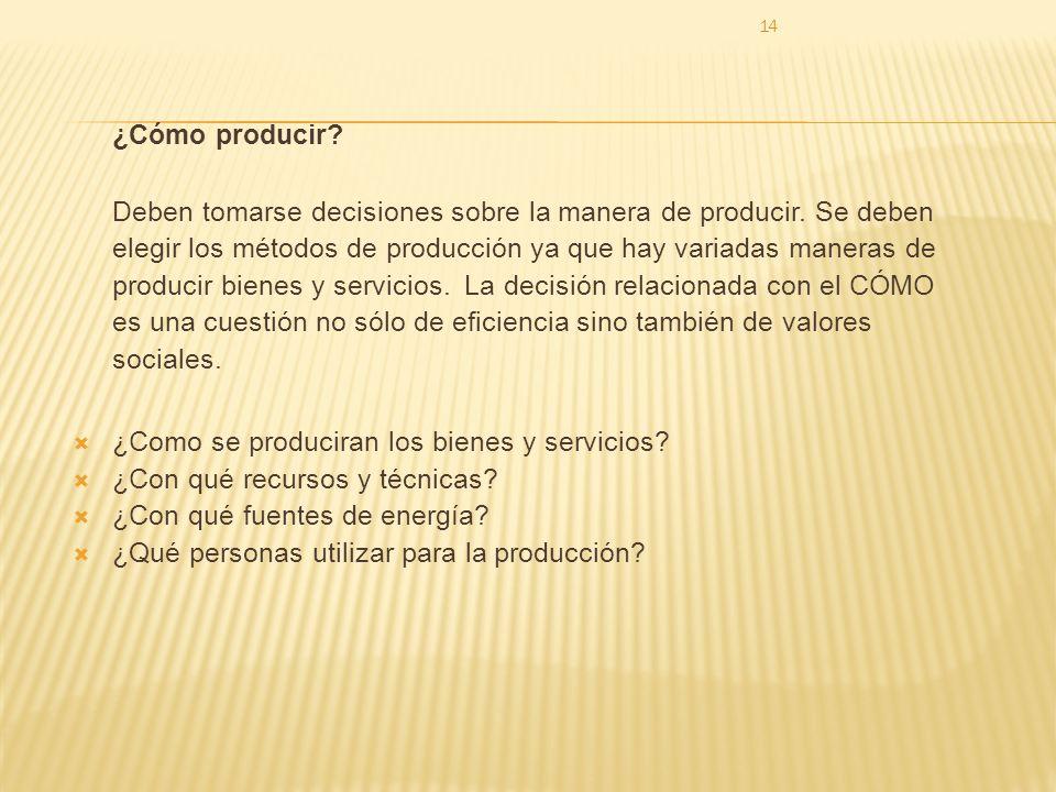 14 ¿Cómo producir.Deben tomarse decisiones sobre la manera de producir.