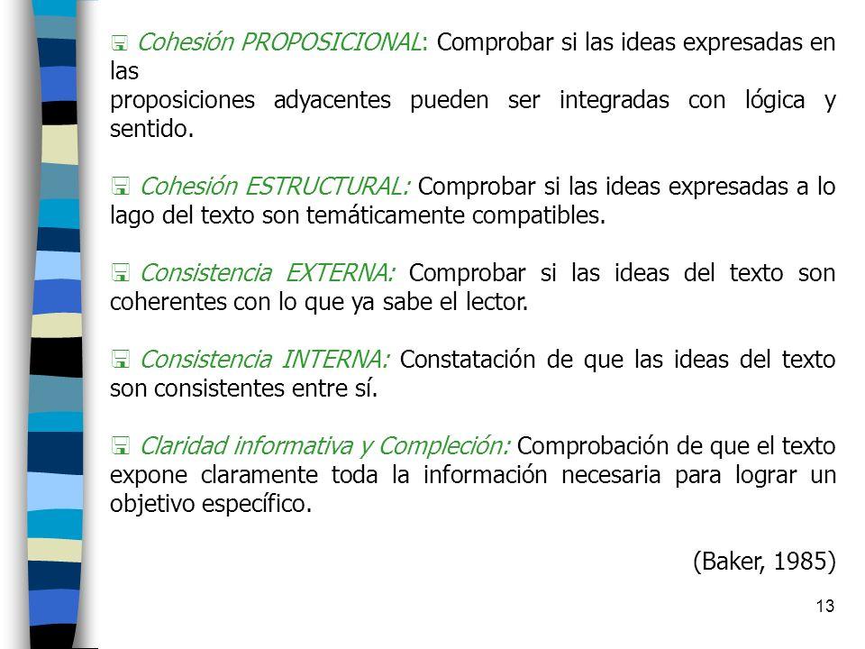 12 Puntos de referencia para evaluar la comprensión (desde el lector) A.- Referente LÉXICO: Referente a nivel de palabras individuales. B.- Referente