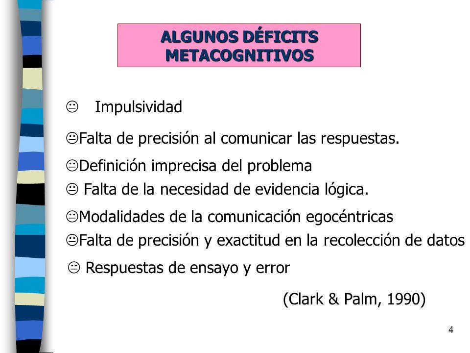 4 ALGUNOS DÉFICITS METACOGNITIVOS Impulsividad Falta de precisión y exactitud en la recolección de datos Definición imprecisa del problema Falta de la necesidad de evidencia lógica.