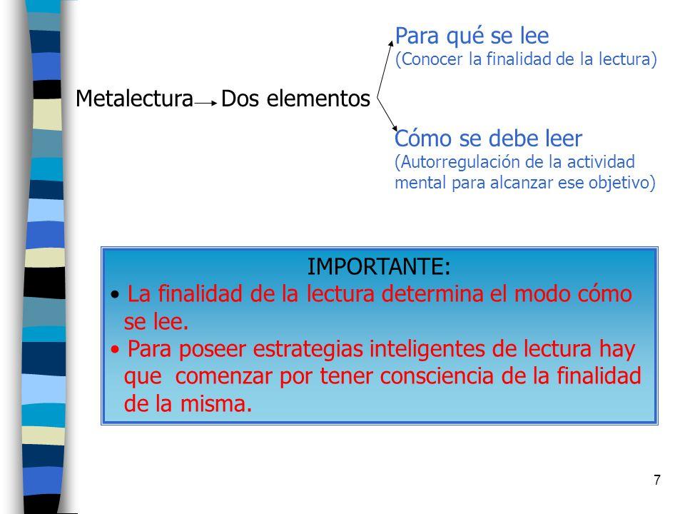 7 Metalectura Dos elementos Para qué se lee (Conocer la finalidad de la lectura) Cómo se debe leer (Autorregulación de la actividad mental para alcanzar ese objetivo) IMPORTANTE: La finalidad de la lectura determina el modo cómo se lee.