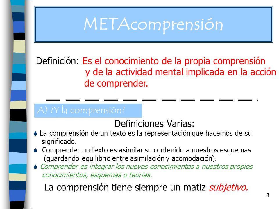 8 metacomprensión METAcomprensión Definición: Es el conocimiento de la propia comprensión y de la actividad mental implicada en la acción de comprender.