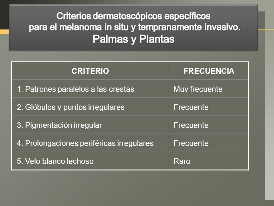 CRITERIOFRECUENCIA 1. Patrones paralelos a las crestasMuy frecuente 2. Glóbulos y puntos irregularesFrecuente 3. Pigmentación irregularFrecuente 4. Pr