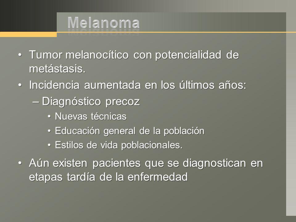 Tumor melanocítico con potencialidad de metástasis.Tumor melanocítico con potencialidad de metástasis. Incidencia aumentada en los últimos años:Incide