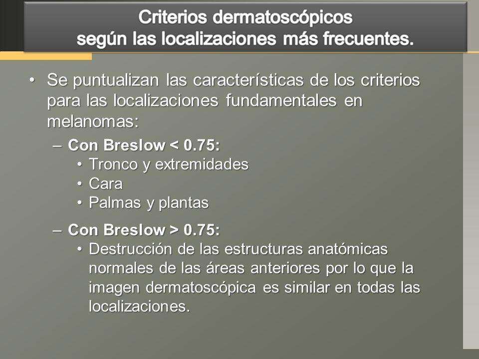 Se puntualizan las características de los criterios para las localizaciones fundamentales en melanomas:Se puntualizan las características de los crite